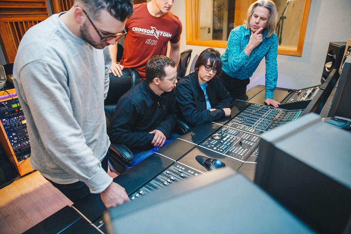 Students in recording studio
