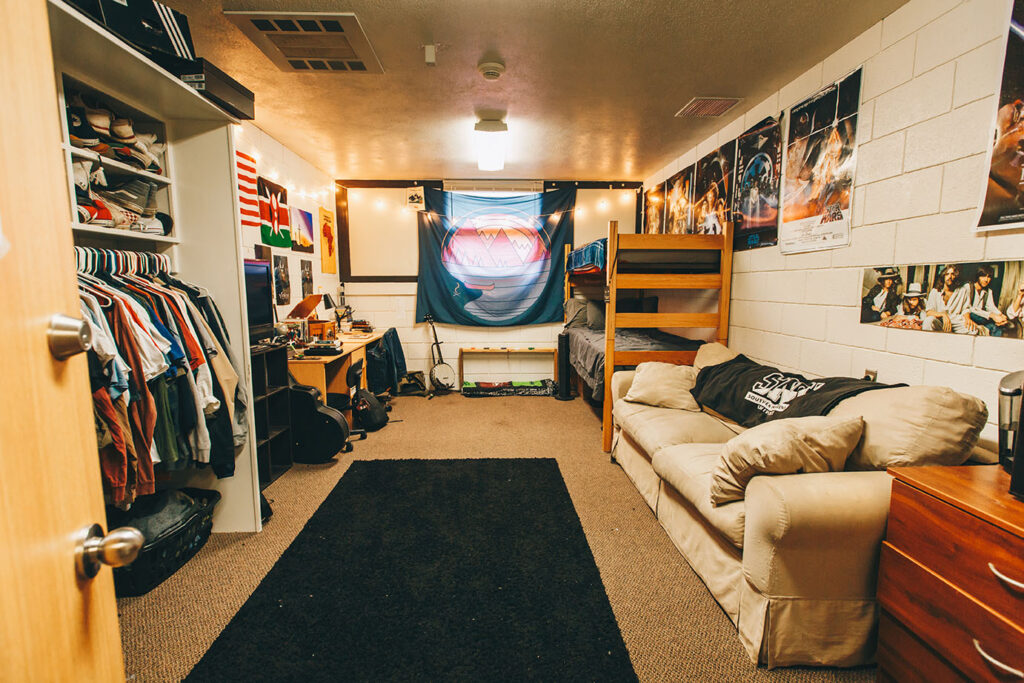 Inside Snowbarger Dorm Room are two beds