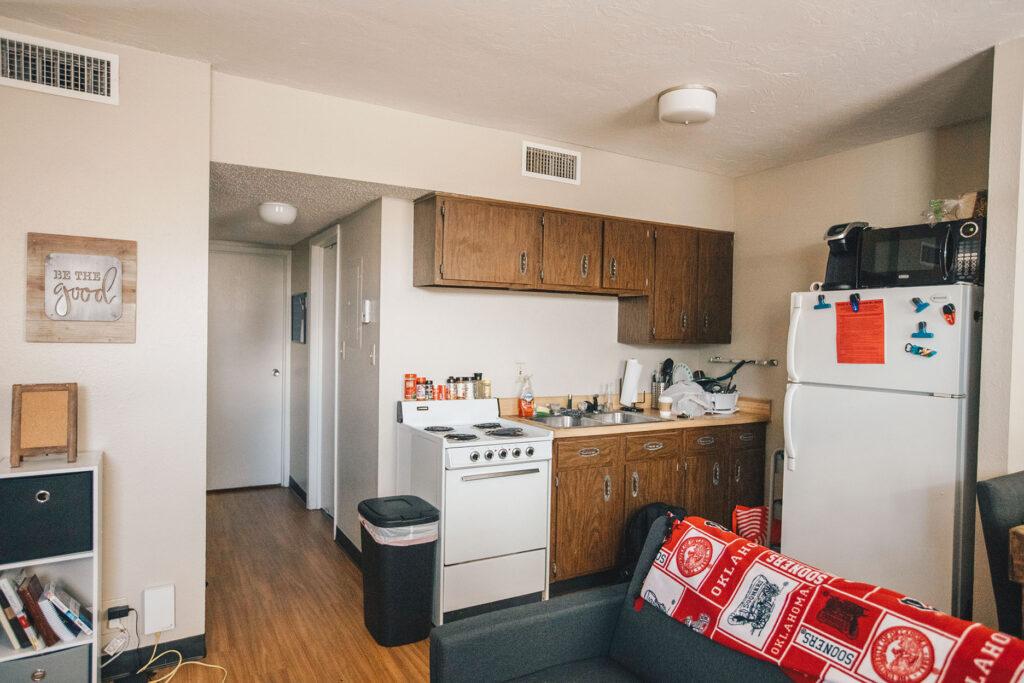 Kitchen area inside Chapman Apartments