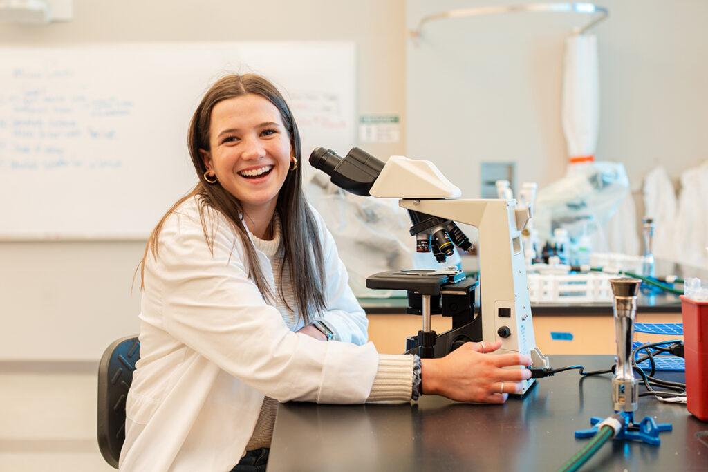 female student in lab